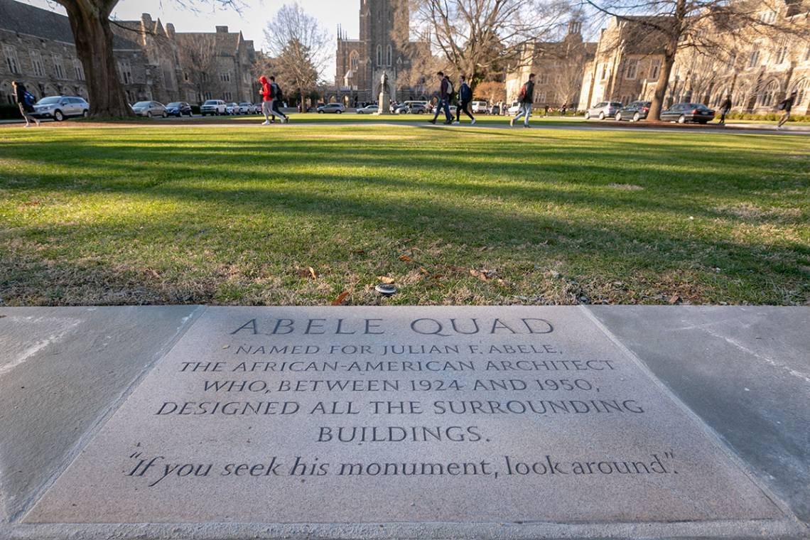 The marker honoring Julian Abele is in a central location of the quad named after the architect. Photo by Megan Mendenhall