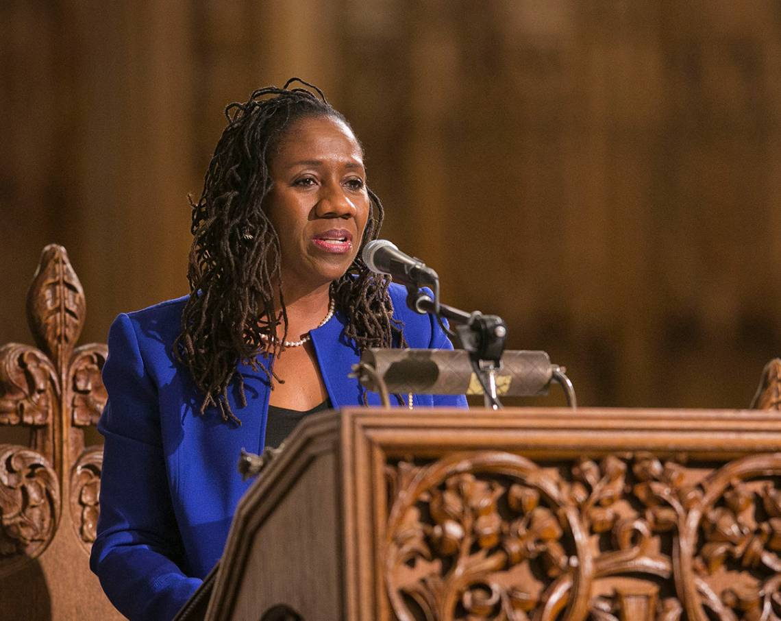 Sherrilyn Ifill, president and director-counsel of the NAACP Legal Defense and Educational Fund (LDF), delivers the keynote address for Duke University's annual Martin Luther King Jr. commemoration on Sunday, Jan. 14 at Duke Chapel.