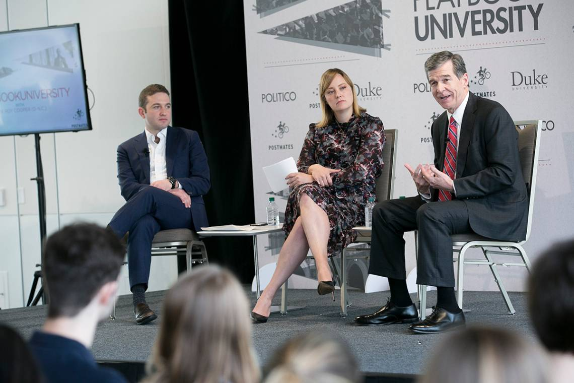 Roy Cooper takes questions at the Politico Playbook. Photo by Megan Mendenhall