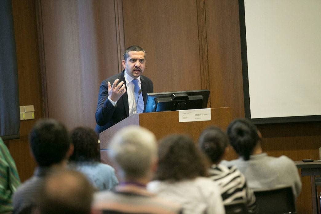 Mehdi Hasan of Al Jazeera noted differences in media coverage of violent events involving Muslims with those involving non-Muslims. Photo by Megan Mendenhall