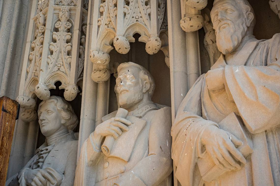 Statue defaced at Duke Chapel.