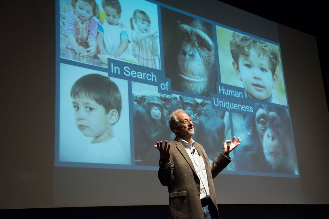 Mike Tomasello discusses cooperation in humans and other primates during a talk last week. Photo by Les Todd/Duke Photography