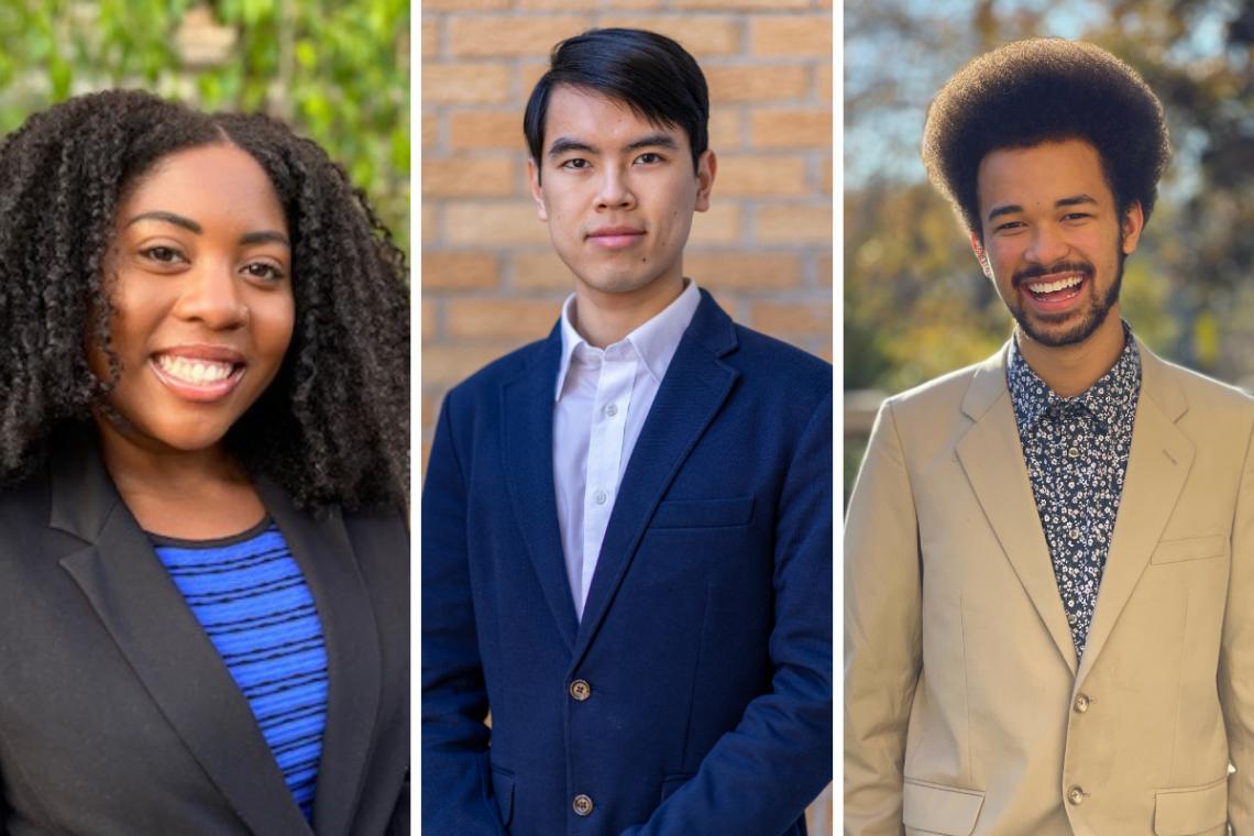Faculty Scholars for 2020: Ce'Ondra Ellison, Xiaochen Du and Jamal Burns.