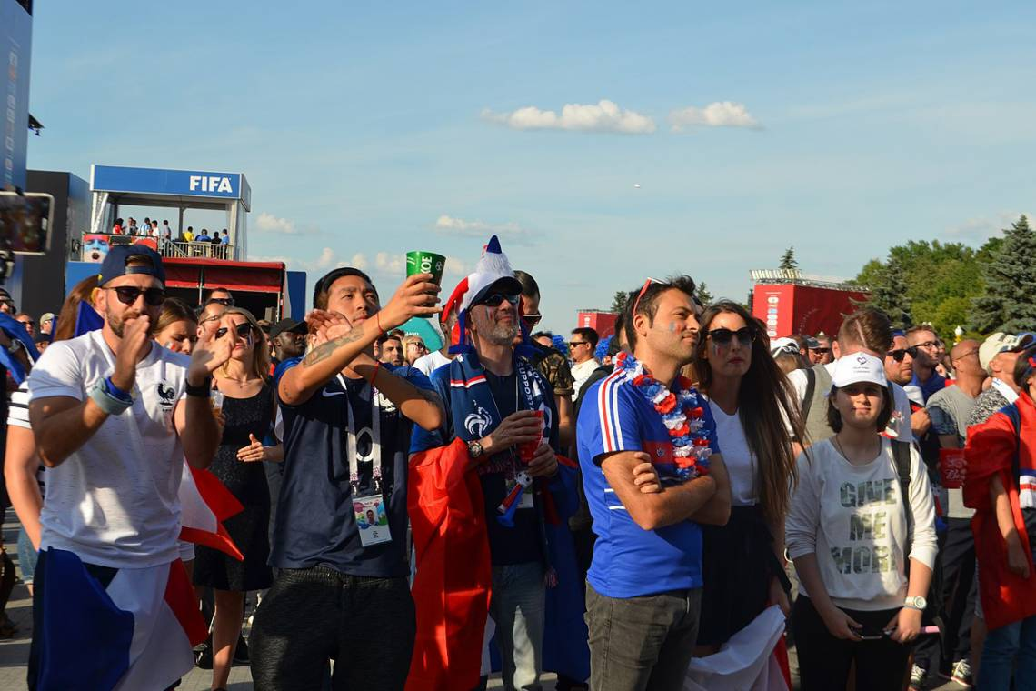 French supporters at the World Cup in Russia. Courtesy Wikimedia Commons