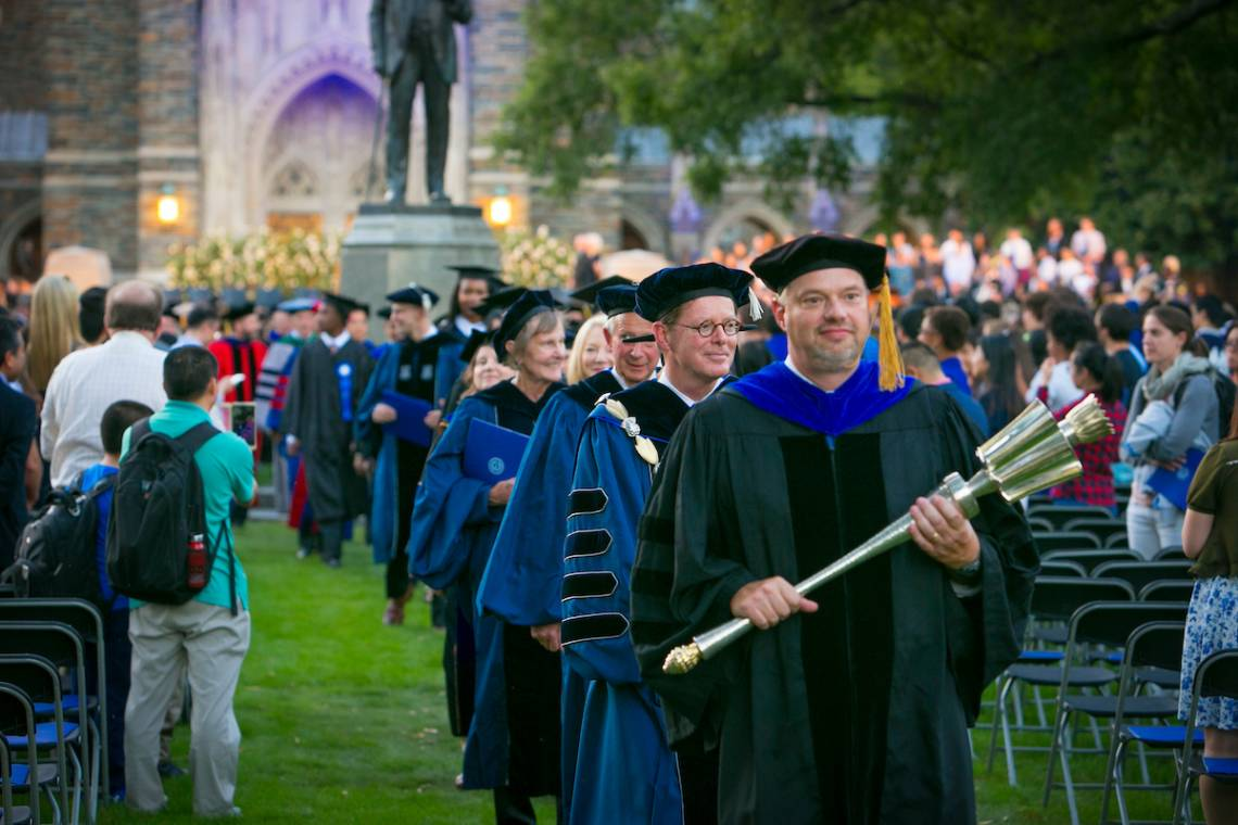 President Vince Price leaves the ceremony following his installation as Duke's 10th president. Photo by Duke Photography