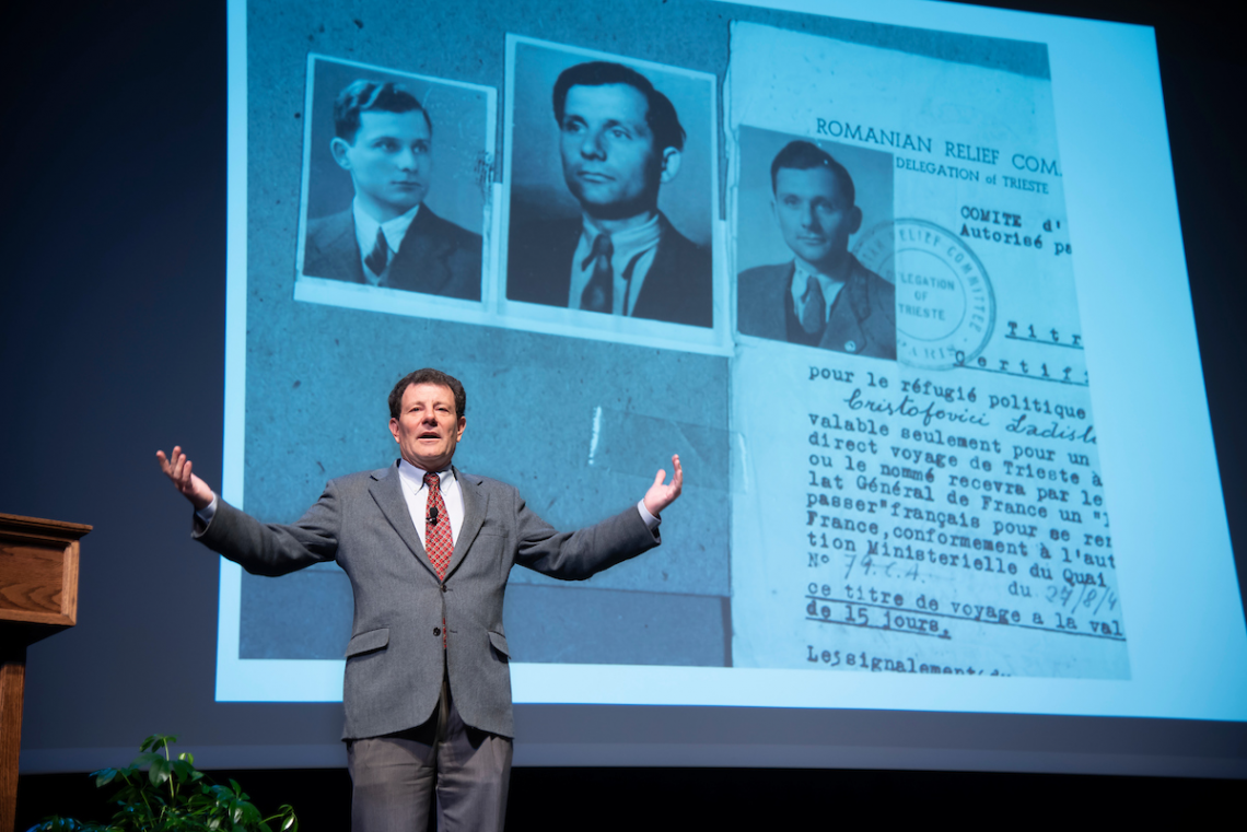 During Thursday's keynote address, columnist Nicholas Kristof used the story of his father's immigration to underscore the history and importance of immigration in the United States.