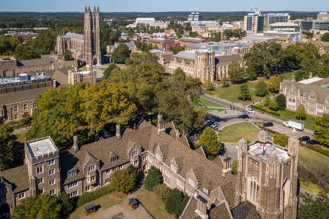 aerial of Duke west campus