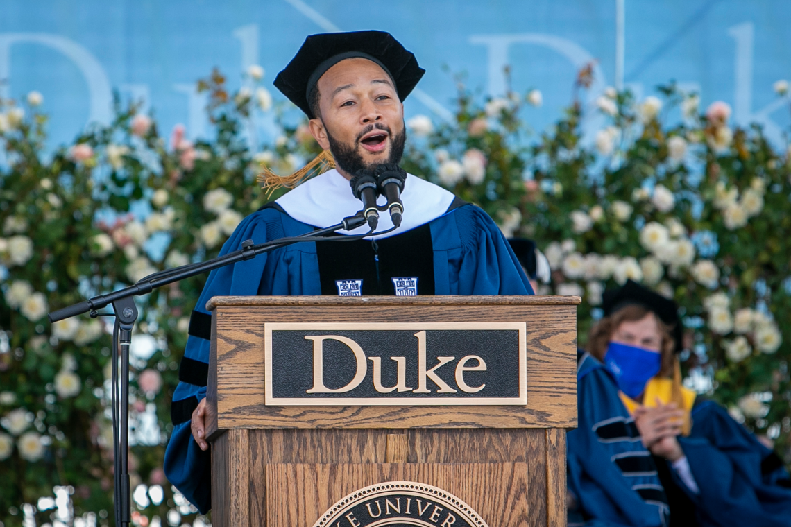 John Legend addresses the Class of 2021 at commencement.