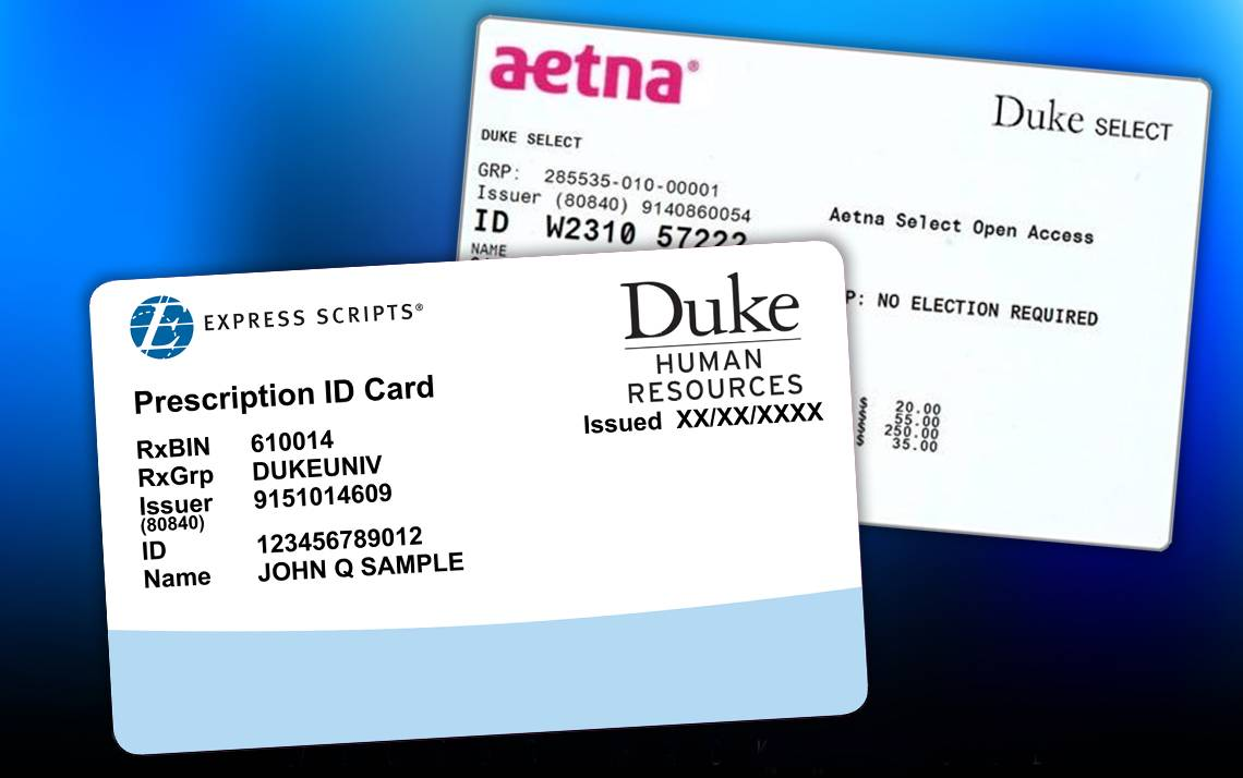 The prescription cards from Express Scripts and health insurance cards for Duke Select and Duke Basic from Aetna (formerly Coventry) will have new account numbers for 2017 and must be used beginning January 1, 2017.