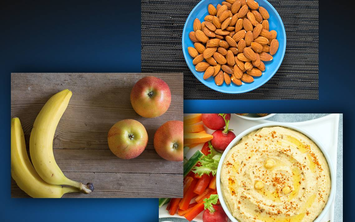 Stick to snacks with proteins and fiber, plan ahead and listen to your body
