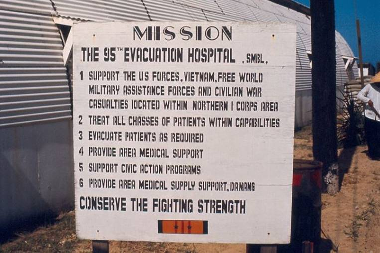 A welcome to the 95th Evacuation Hospital in Vietnam.