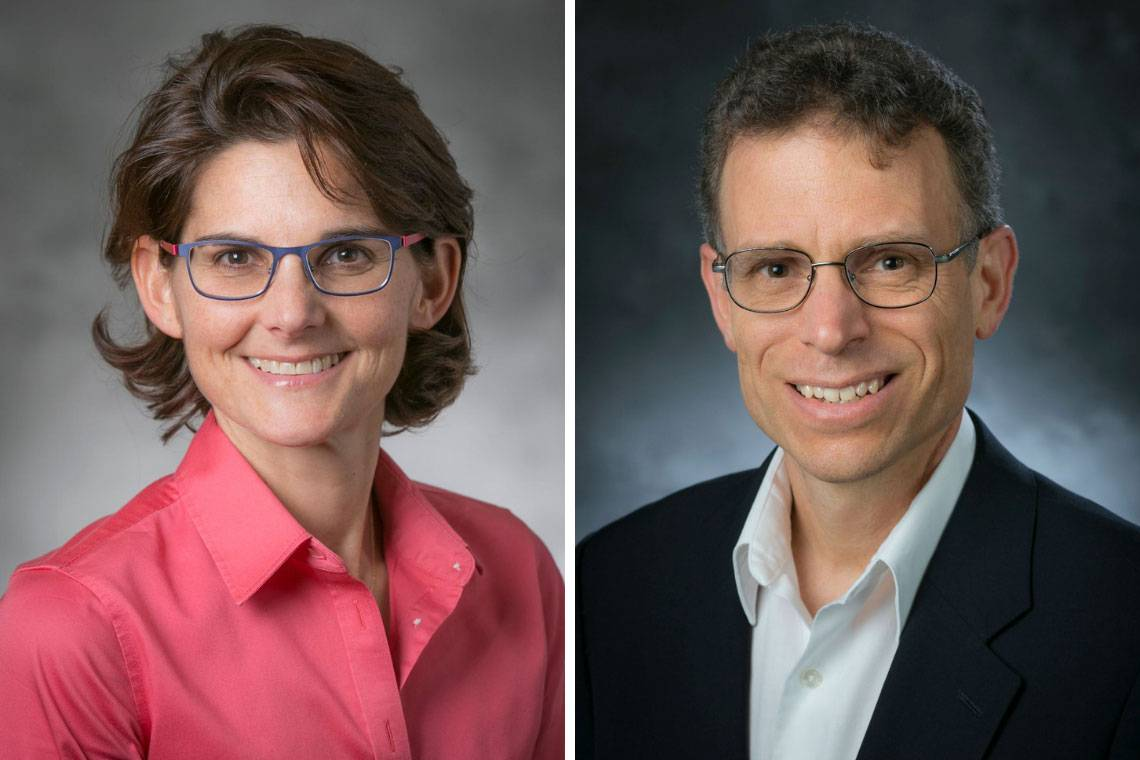 Kathy Franz and David Mitzi received awards from the American Chemical Society. Duke alumna Duke Chemistry alumna Kerry Karukstis (not pictured) also was honored.