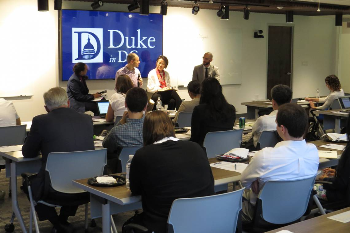 Panelist explore the science of artificial intelligence and how policies will shape its role in the US economy. Photo courtesy Duke in DC program.
