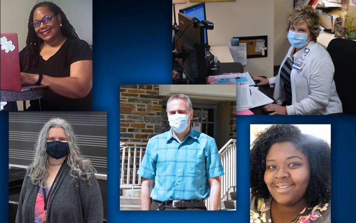Top row, left to right: Tyra Dixon and Elizabeth Norwood. Bottom row, left to right: Brandi Melvin-Scammell, Eric Maier and Anyssa Queen.