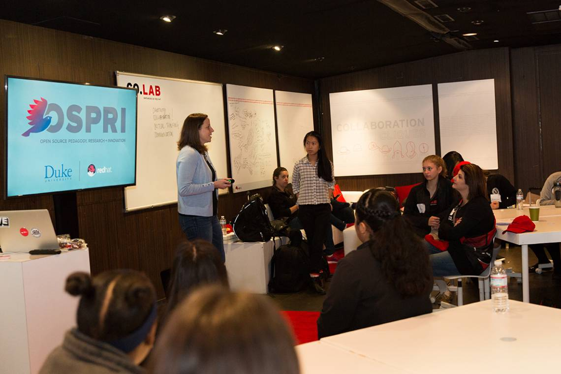 Aria Chernik and OSPRI student Sharon Peng participate in the Red Hat CO.LAB project, which seeks to close the STEM diversity gap and teach middle school girls about the power of collaboration.
