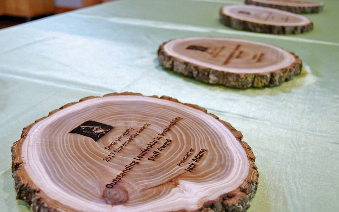 Sustainability Award plaques.