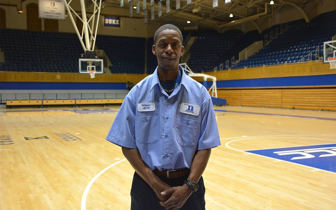 William Harris is a utility worker in University Environmental Services at Cameron Indoor Stadium.
