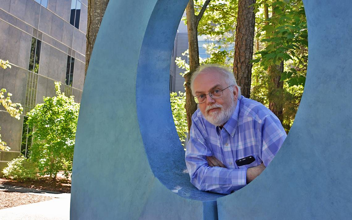 Balfour Smith in the Beber Sculpture Garden at Duke Law. Photo by Beth Hatcher.
