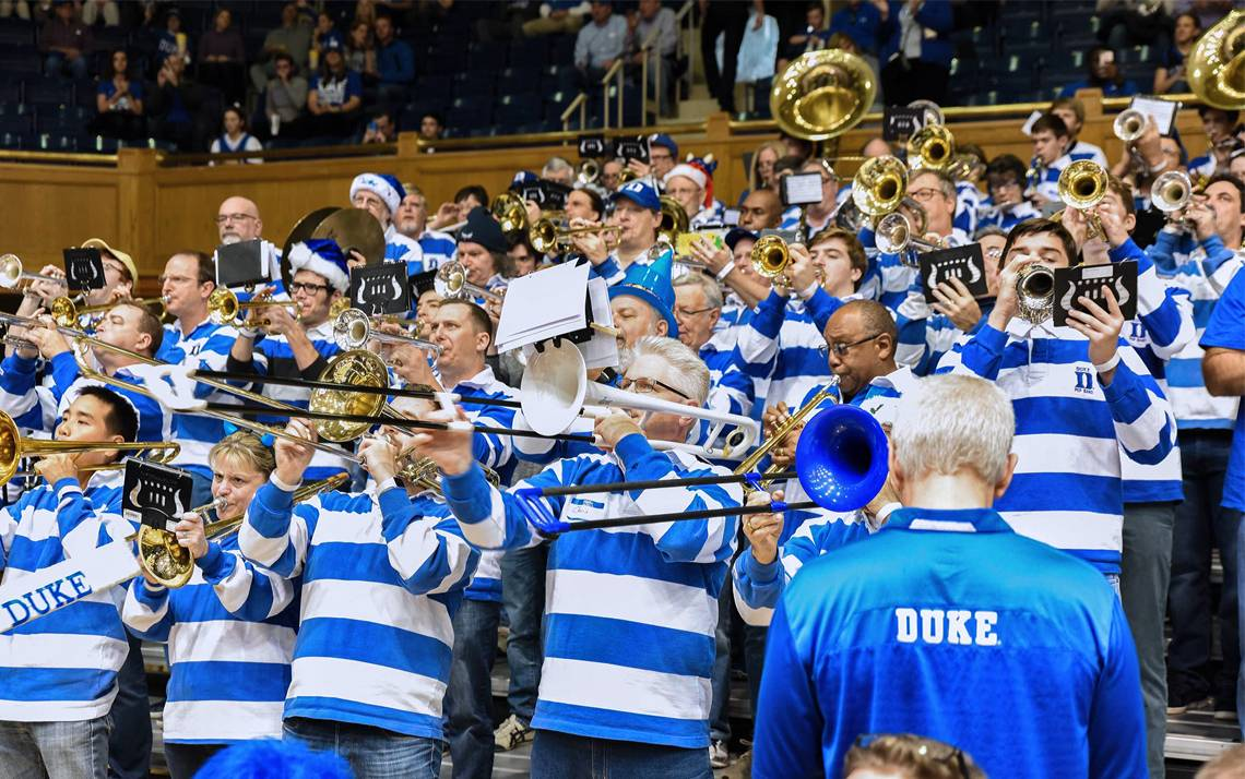 The Duke Alumni Band performs during a men's basketball game at Cameron Indoor Stadium. Photo courtesy of the Duke Alumni Band.