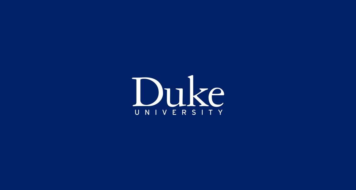 Duke University Logo on Blue Background