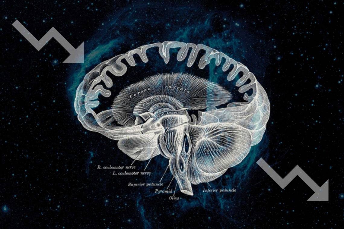An illustration of a brain against a cosmic background
