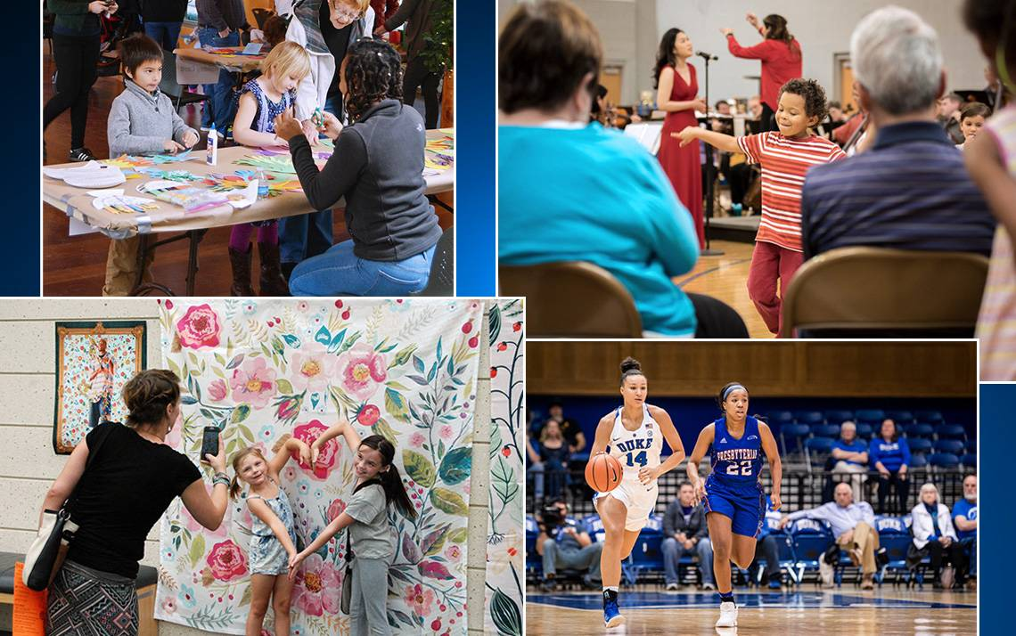 Photos of DUke women's basketball, children listening to music, children enjoying art and the Duke Garden Winter Wonderland Program.
