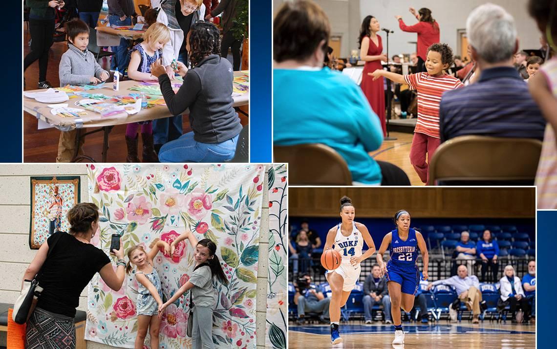 Photos of DUke women's basketball, children listening to music, children enjoying art and the Duke Garden Winter Wonderland Program.