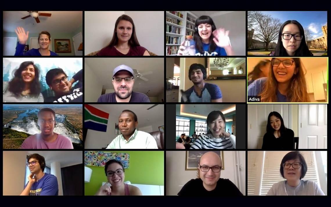 Duke International House staff, students and alumni enjoy a virtual brunch together. Photo courtesy of Duke International House.