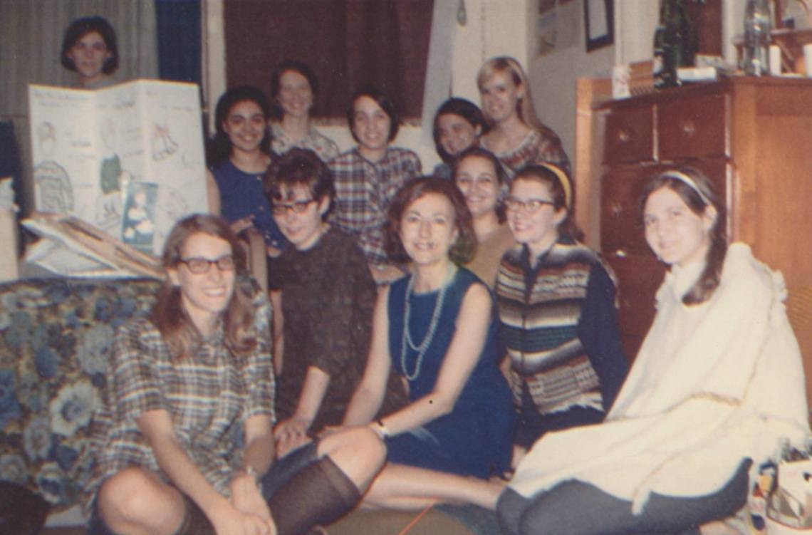 Anne-Marie Bryan, middle, with French language students.
