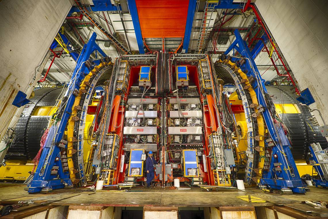 Weighing some 5,000 tons and standing three stories tall, this detector was one of the first to spot an elusive subatomic particle known as the top quark. Duke physicists are being honored this week for their role in the top quark's discovery. (Fermilab)