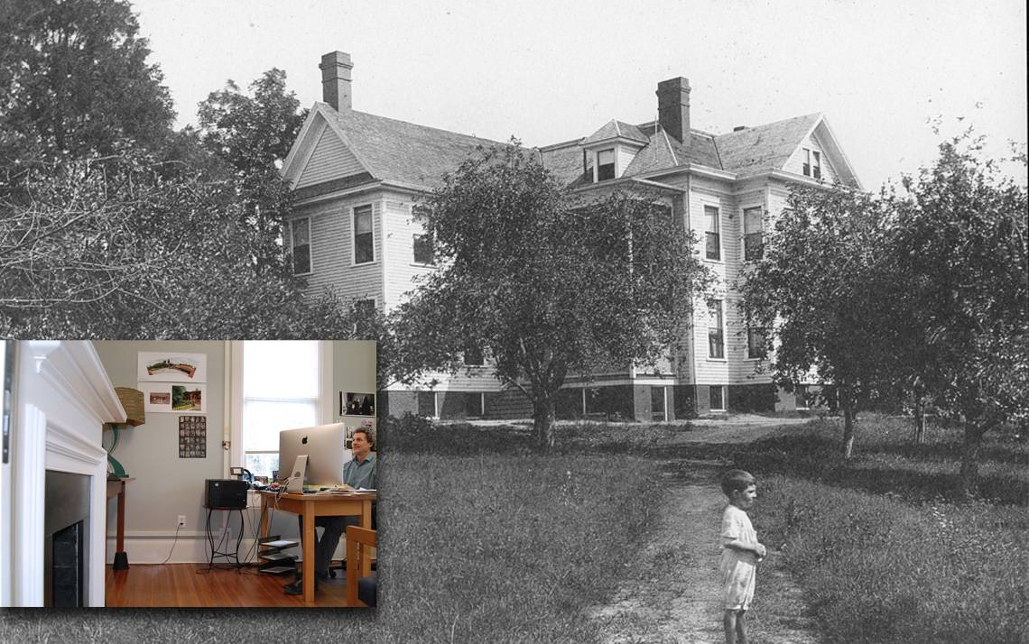 For more than a century, the building now known as the Lyndhurst House has stood near Duke's East Campus. What was once a residence, shown here in the early 20th century, is now an office, shown in the inset.