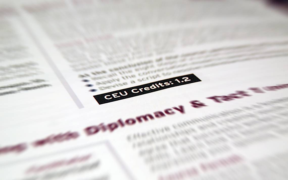 CEU Credit listing on L&OD catalog page.