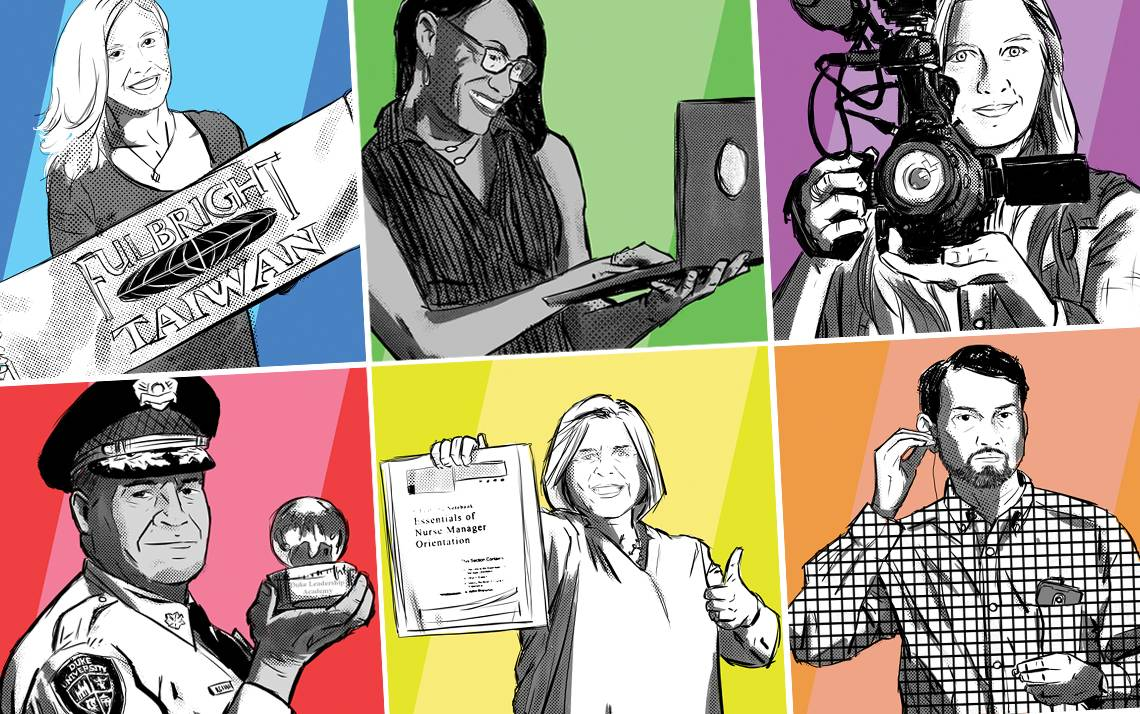 Top row, left to right: Amanda Frederick, Fateria Johnson and Erin Hull. Bottom row, left to right: Ron Evans, Anne Marie Adiletta and Anand Chowdhury. Illustrations by Chris Williams. Photography by Alex Boerner