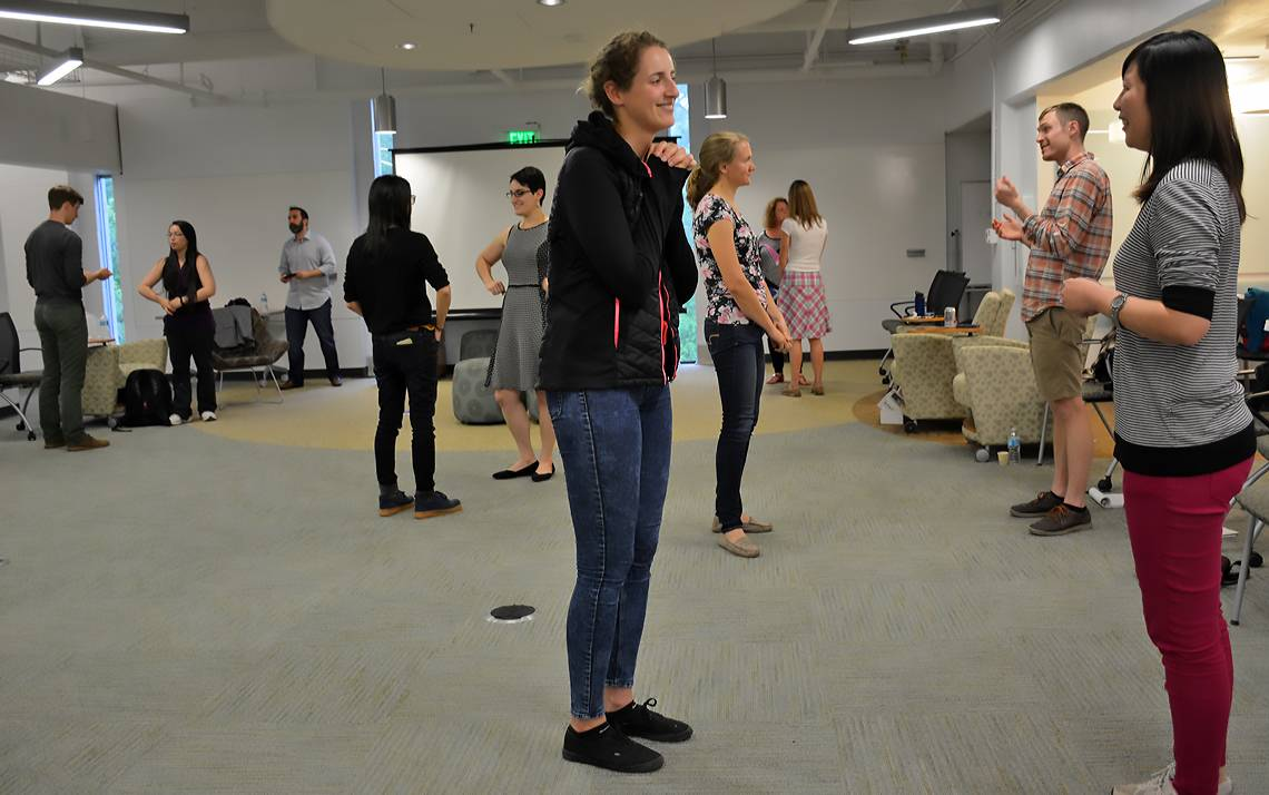 During a program organized by Pratt School of Engineering's PhD Plus Professional Development Program, students and employees participated in improv exercises led by Zach Ward, owner of DSI Comedy Theater in Chapel Hill.