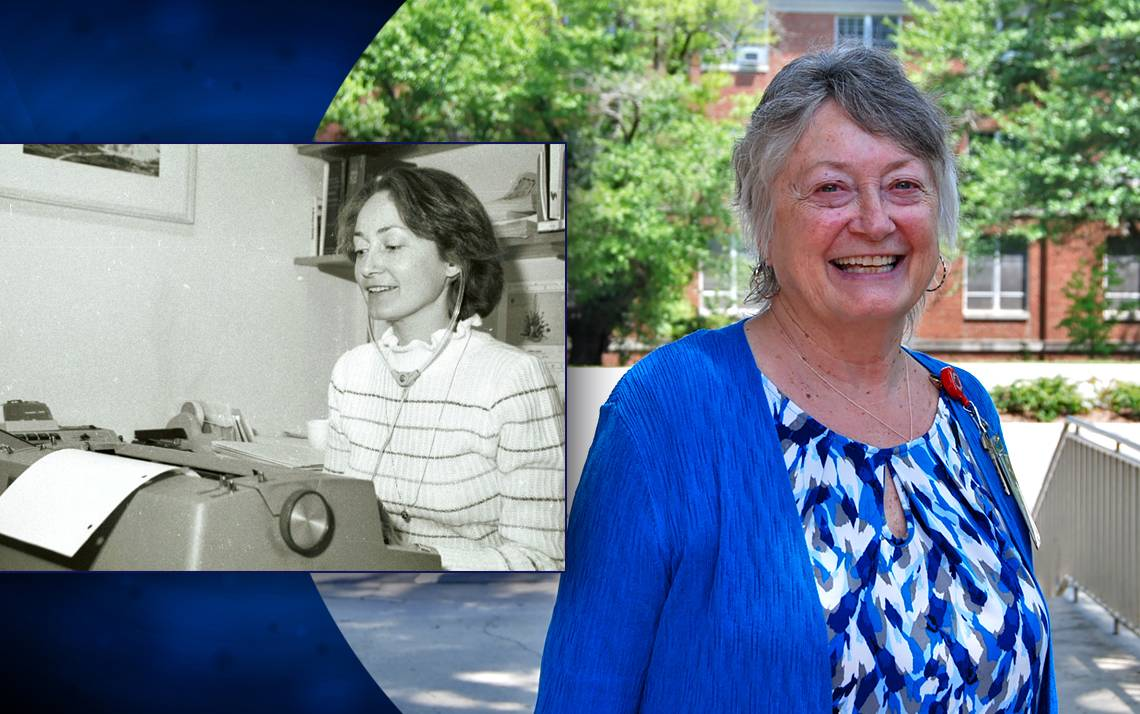 Carol May, shown in her first year at Duke and in her 50th, has seen plenty of change during her time here.