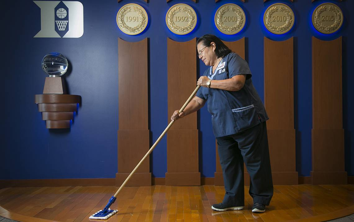 Duke housekeeper Celestina Torres is one of the Duke Facilities Management Department staff members who tend to places the Blue Devils men's basketball program calls home. Photo by Megan Mendenhall.