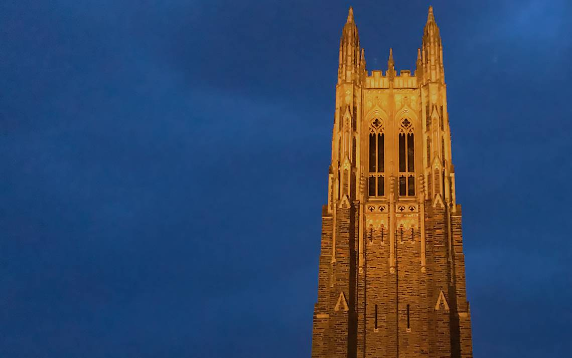 Duke University Chapel is shown here illuminated at night in early 2019. Photo by University Communications.