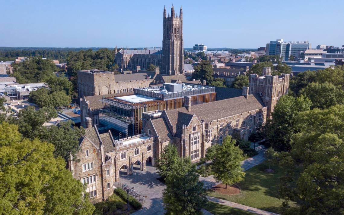An aerial photo captures Duke University and Duke University Health System. Photo courtesy of Duke University Communications.