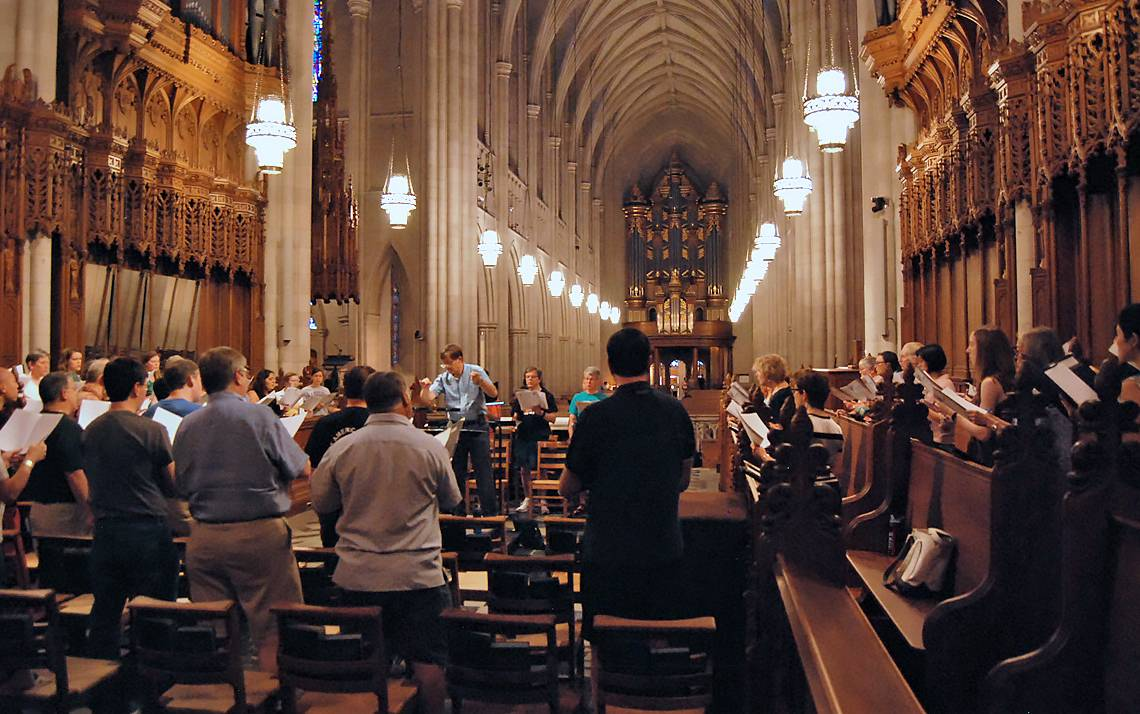 Director of Duke Chapel Music Rodney Wynkoop leads the Duke Chapel Choir through a rehearsal.