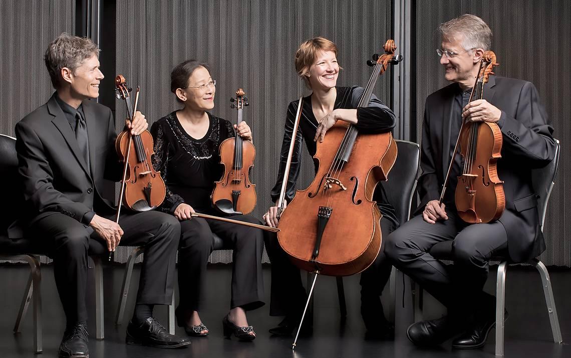 Ciompi Quartet members, from left to right, Eric Pritchard, Hsiao-Mei Ku, Caroline Stinson and Jonathan Bagg, serve as musical ambassadors for Duke. Photo courtesy of Ciompi Quartet.