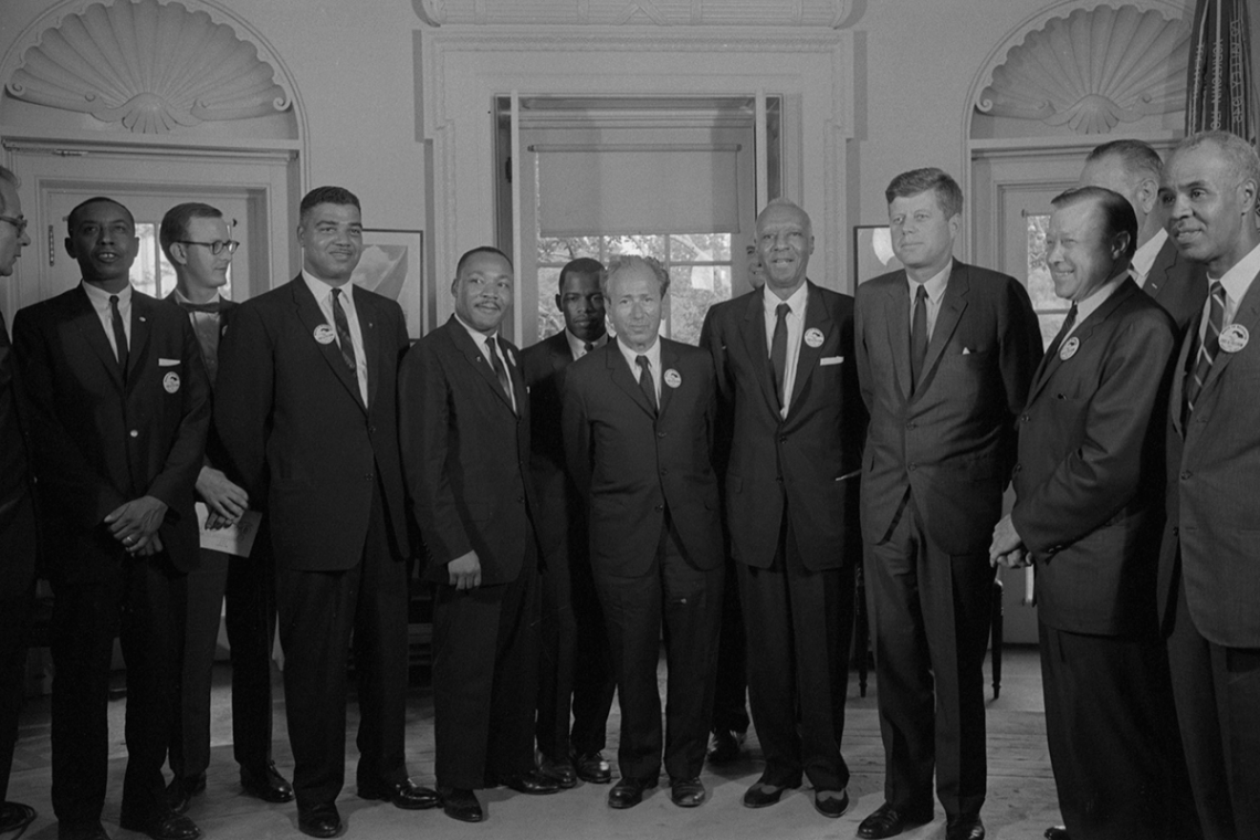 Civil rights leaders meet with President John F. Kennedy in the White House. Traditional history of the civil rights focuses on leadership efforts while often overlooking the essential work of youths and other grass roots activists.