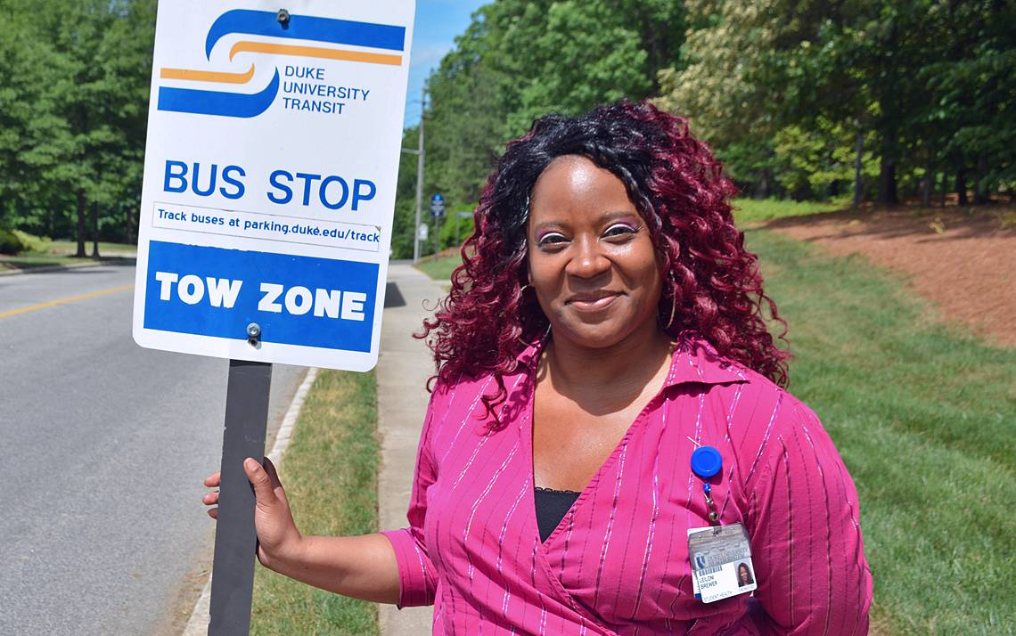 Leiloni Brewer rides a GoDurham bus to get to work at the Student Wellness Center.