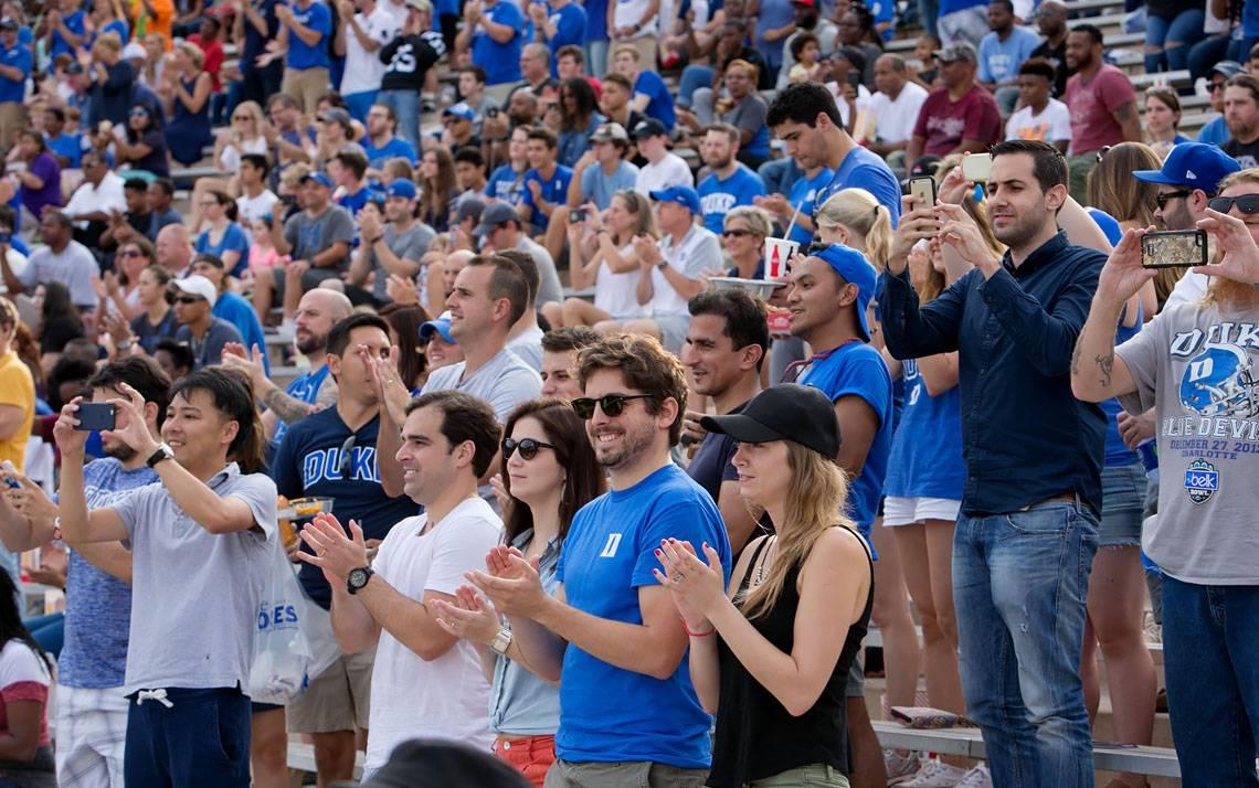 Fans at Brooks Field at Wallace Wade Stadium watch Duke play North Carolina Central.