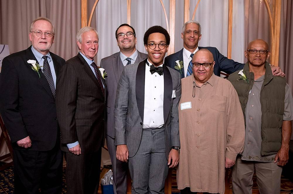 Cook Society honorees: David Malone, President Brodhead, Juan Ramirez, Jr.,  Henry Washington, Jr., Edward Gomes, Wahneema Lubiano, Leonidas Nelson Jr.