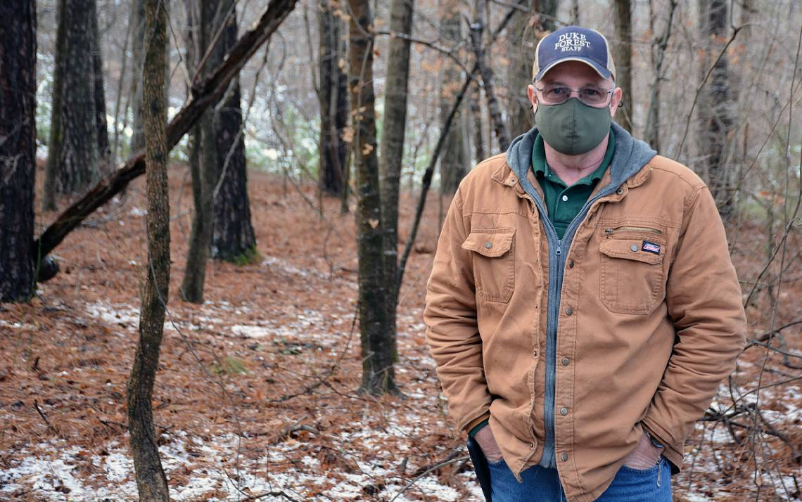 Craig Hughes, who works for Duke Forest, quit using smokeless tobacco in 2020. Photo by Jonathan Black.