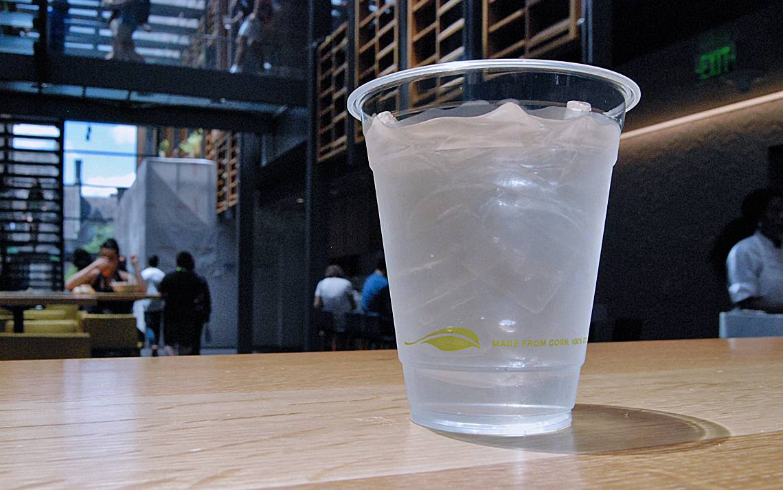 Diners in the Brodhead Center, and other Duke Dining facilities, can drink out of cup made from a biodegradable, plant-based material.