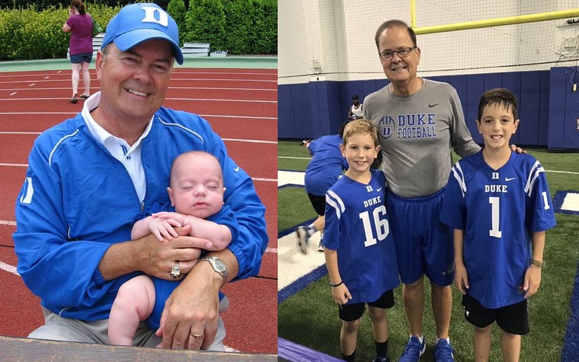 At left, Duke football coach David Cutcliffe holds a four-month old Colin Jee in 2008. At right, Kevin Jee, left, and Colin Jee, right, visit with Cutcliffe last year. Photos courtesy of Lori Jee.