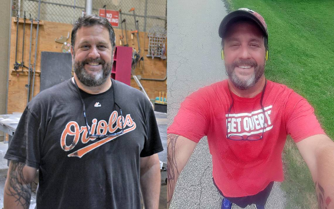 David Berberian has lost an additional 24 pounds since March, bringing his total weight loss to 54 pounds. Left photo by Jonathan Black. Right photo courtesy of David Berberian