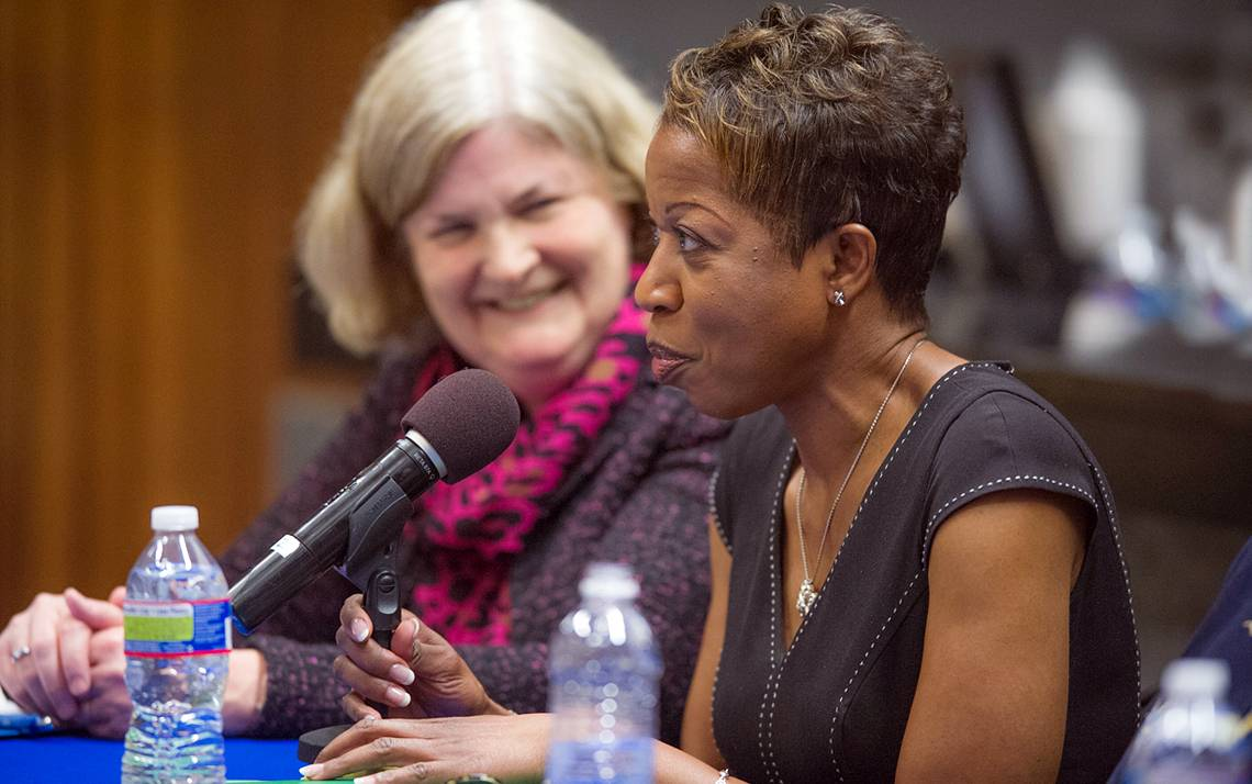 Seven female deans at Duke shared their leadership journeys on Monday, to include Valerie Ashby, dean of the Trinity College of Arts & Sciences. Photo by Duke Photography