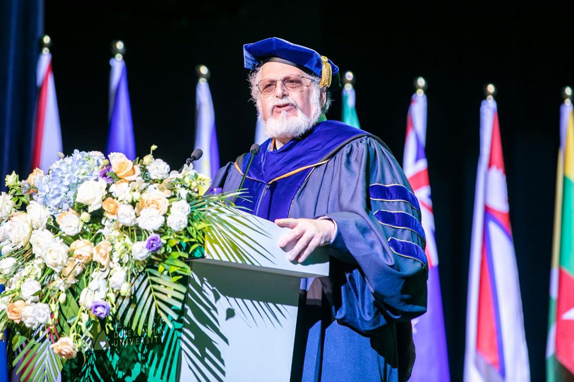 Denis Simon speaks at the Duke Kunshan University undergraduate convocation in August 2019